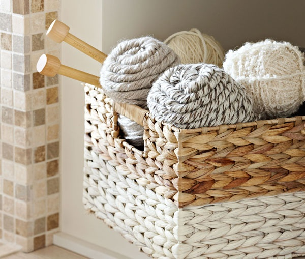 Lowes painted striped basket
